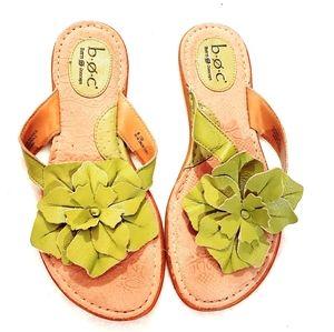 B.O.C Leather Floral Flip Flops